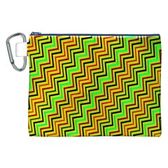 Green Red Brown Zig Zag Background Canvas Cosmetic Bag (xxl)