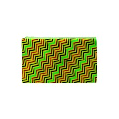 Green Red Brown Zig Zag Background Cosmetic Bag (XS)