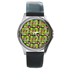 Smiley Monster Round Metal Watch