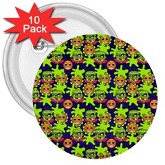 Smiley Monster 3  Buttons (10 pack)
