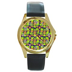 Smiley Monster Round Gold Metal Watch