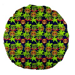 Smiley Monster Large 18  Premium Round Cushions