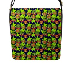 Smiley Monster Flap Messenger Bag (l)