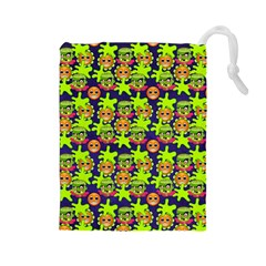 Smiley Monster Drawstring Pouches (Large)