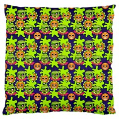Smiley Monster Large Flano Cushion Case (one Side)