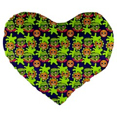 Smiley Monster Large 19  Premium Flano Heart Shape Cushions