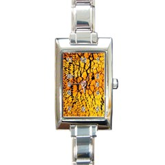 Yellow Chevron Zigzag Pattern Rectangle Italian Charm Watch