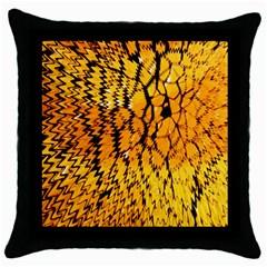 Yellow Chevron Zigzag Pattern Throw Pillow Case (Black)