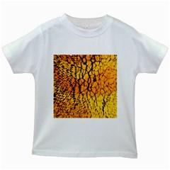 Yellow Chevron Zigzag Pattern Kids White T-Shirts