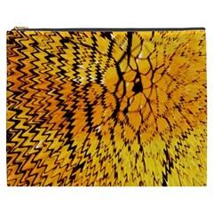 Yellow Chevron Zigzag Pattern Cosmetic Bag (XXXL)