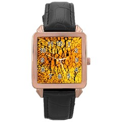 Yellow Chevron Zigzag Pattern Rose Gold Leather Watch