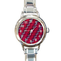 Red Turquoise Black Zig Zag Background Round Italian Charm Watch