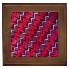 Red Turquoise Black Zig Zag Background Framed Tiles