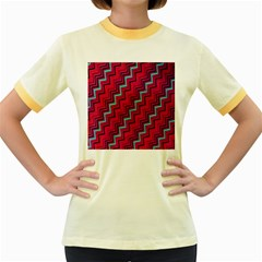 Red Turquoise Black Zig Zag Background Women s Fitted Ringer T Shirts