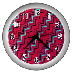 Red Turquoise Black Zig Zag Background Wall Clocks (Silver)