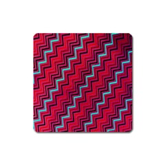 Red Turquoise Black Zig Zag Background Square Magnet
