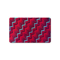 Red Turquoise Black Zig Zag Background Magnet (Name Card)