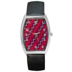 Red Turquoise Black Zig Zag Background Barrel Style Metal Watch