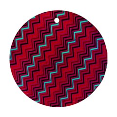 Red Turquoise Black Zig Zag Background Round Ornament (Two Sides)