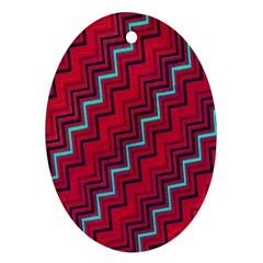 Red Turquoise Black Zig Zag Background Oval Ornament (Two Sides)