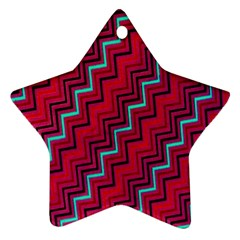 Red Turquoise Black Zig Zag Background Star Ornament (Two Sides)