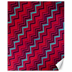 Red Turquoise Black Zig Zag Background Canvas 16  x 20