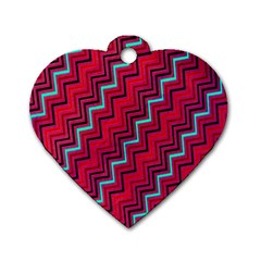 Red Turquoise Black Zig Zag Background Dog Tag Heart (Two Sides)