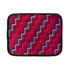 Red Turquoise Black Zig Zag Background Netbook Case (small)