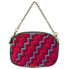 Red Turquoise Black Zig Zag Background Chain Purses (one Side)