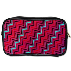 Red Turquoise Black Zig Zag Background Toiletries Bags 2-Side