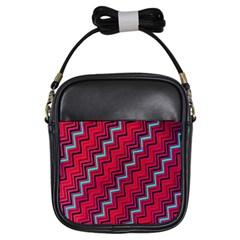 Red Turquoise Black Zig Zag Background Girls Sling Bags