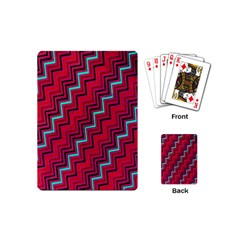 Red Turquoise Black Zig Zag Background Playing Cards (Mini)
