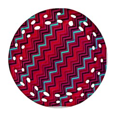 Red Turquoise Black Zig Zag Background Ornament (round Filigree)