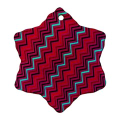 Red Turquoise Black Zig Zag Background Snowflake Ornament (Two Sides)