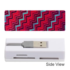 Red Turquoise Black Zig Zag Background Memory Card Reader (Stick)