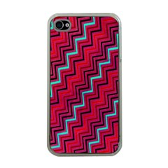 Red Turquoise Black Zig Zag Background Apple iPhone 4 Case (Clear)