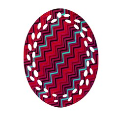 Red Turquoise Black Zig Zag Background Ornament (Oval Filigree)