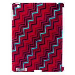 Red Turquoise Black Zig Zag Background Apple iPad 3/4 Hardshell Case (Compatible with Smart Cover)