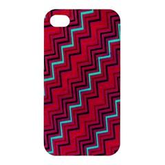 Red Turquoise Black Zig Zag Background Apple iPhone 4/4S Premium Hardshell Case