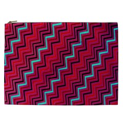 Red Turquoise Black Zig Zag Background Cosmetic Bag (XXL)