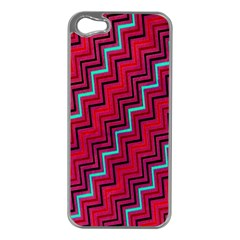 Red Turquoise Black Zig Zag Background Apple iPhone 5 Case (Silver)