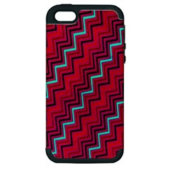 Red Turquoise Black Zig Zag Background Apple iPhone 5 Hardshell Case (PC+Silicone)