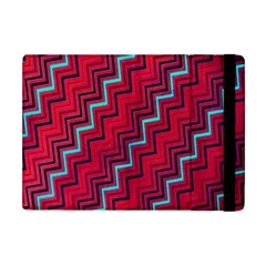 Red Turquoise Black Zig Zag Background Apple Ipad Mini Flip Case