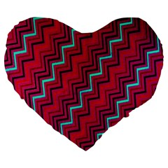 Red Turquoise Black Zig Zag Background Large 19  Premium Heart Shape Cushions