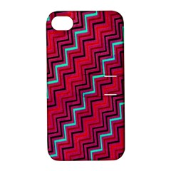 Red Turquoise Black Zig Zag Background Apple Iphone 4/4s Hardshell Case With Stand