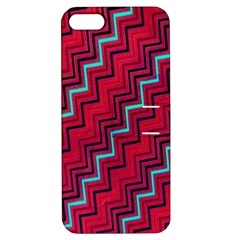 Red Turquoise Black Zig Zag Background Apple Iphone 5 Hardshell Case With Stand
