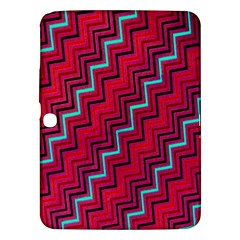 Red Turquoise Black Zig Zag Background Samsung Galaxy Tab 3 (10.1 ) P5200 Hardshell Case