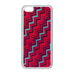 Red Turquoise Black Zig Zag Background Apple iPhone 5C Seamless Case (White)