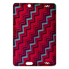 Red Turquoise Black Zig Zag Background Amazon Kindle Fire Hd (2013) Hardshell Case