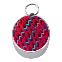 Red Turquoise Black Zig Zag Background Mini Silver Compasses
